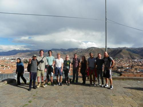 A viewpoint from the free walking tour on Day 1 in Cusco, Peru.