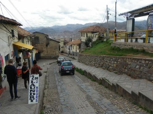Just ouside of the hostel, at the top of the stairs. Cusco, Peru.